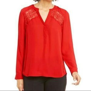 Gibson Latimer red lace long sleeve large top